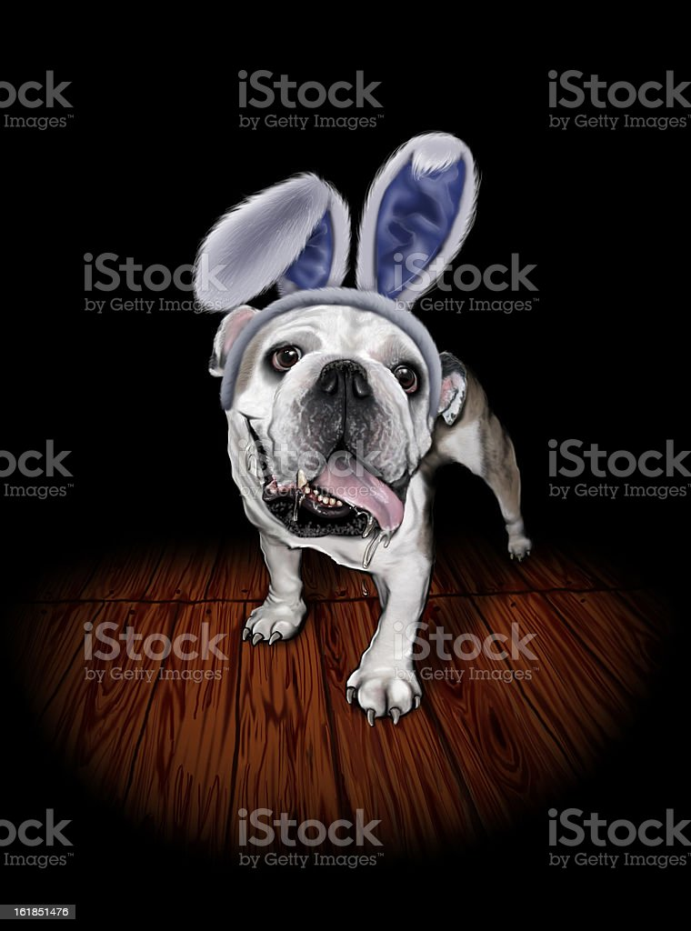Bulldog in Bunny Ears vector art illustration