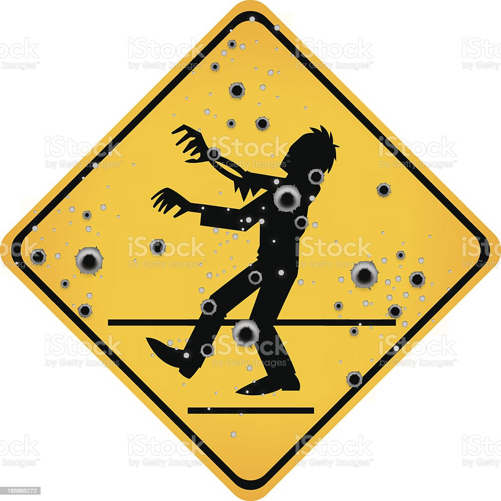 bullet hole zombie sign vector art illustration