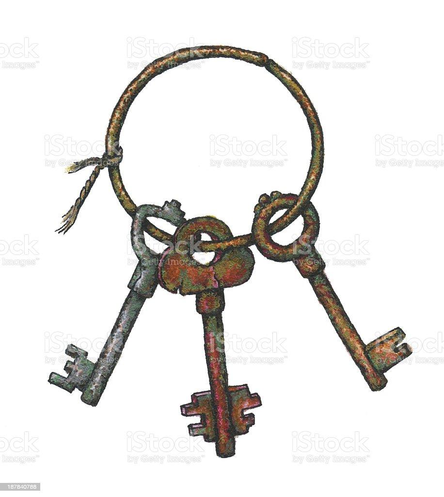 Bunch of old keys royalty-free stock vector art