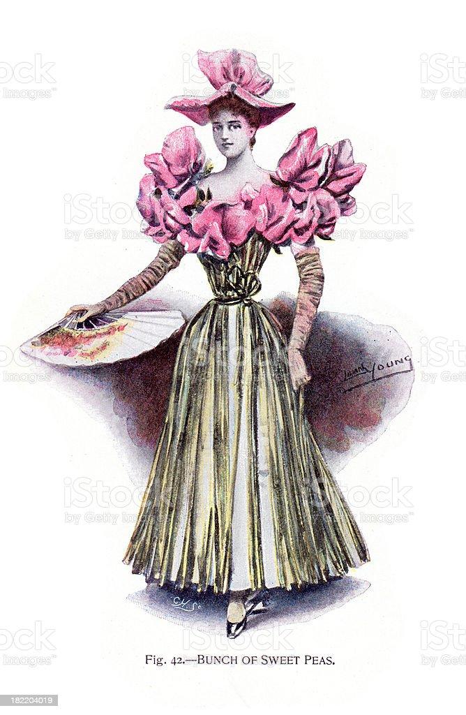 Bunch of Sweet Peas Costume - Victorian Fashion vector art illustration