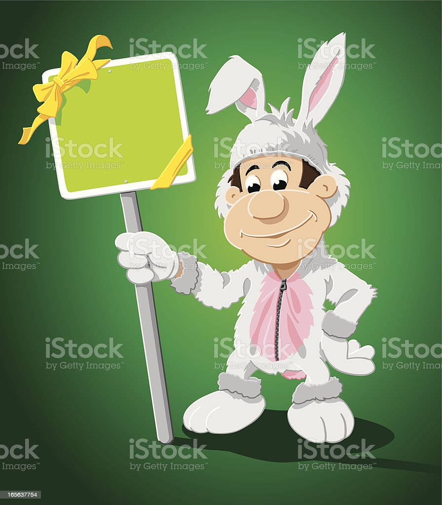 Bunny Costume Man Blank Green Sign royalty-free stock vector art