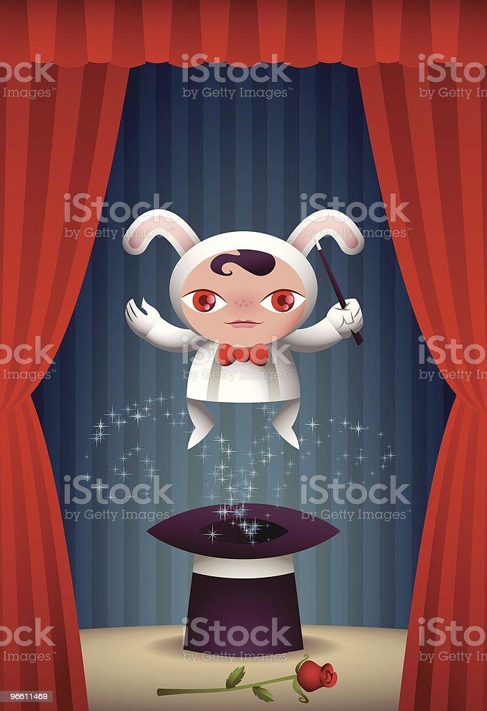 bunny magician vector art illustration