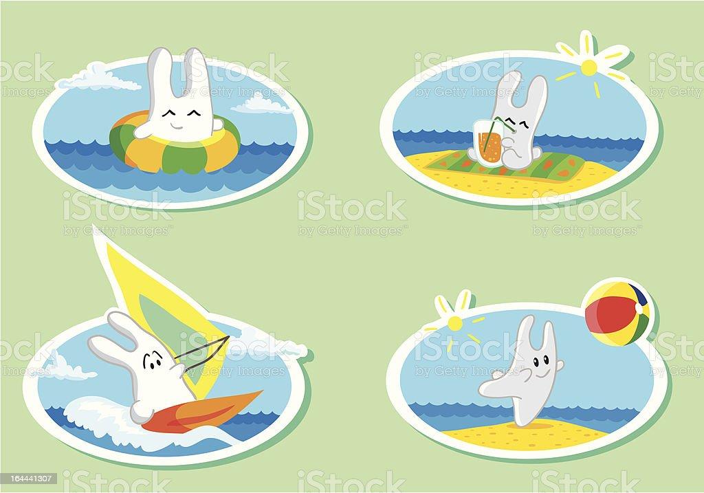 Bunny on the beach royalty-free stock vector art