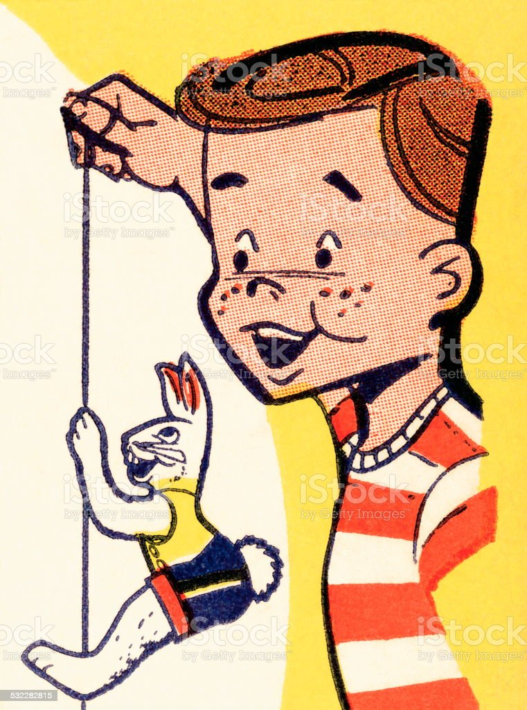 Bunny puppet vector art illustration
