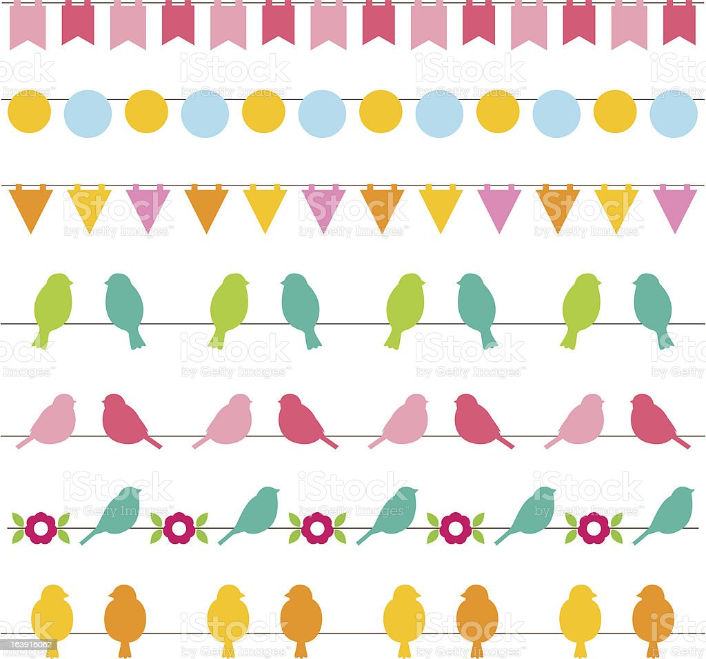 Bunting and design elements set royalty-free stock vector art