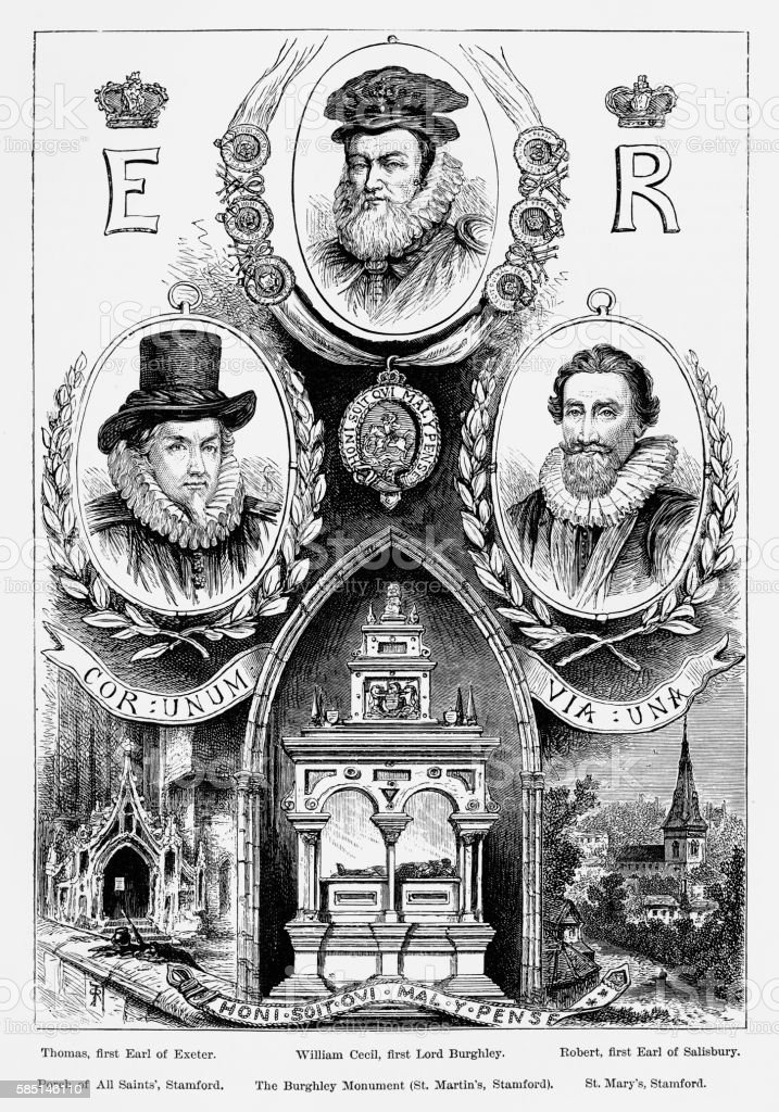 Burghley Park, in Stamford, England Landmarks Victorian Engraving, Circa 1840 vector art illustration