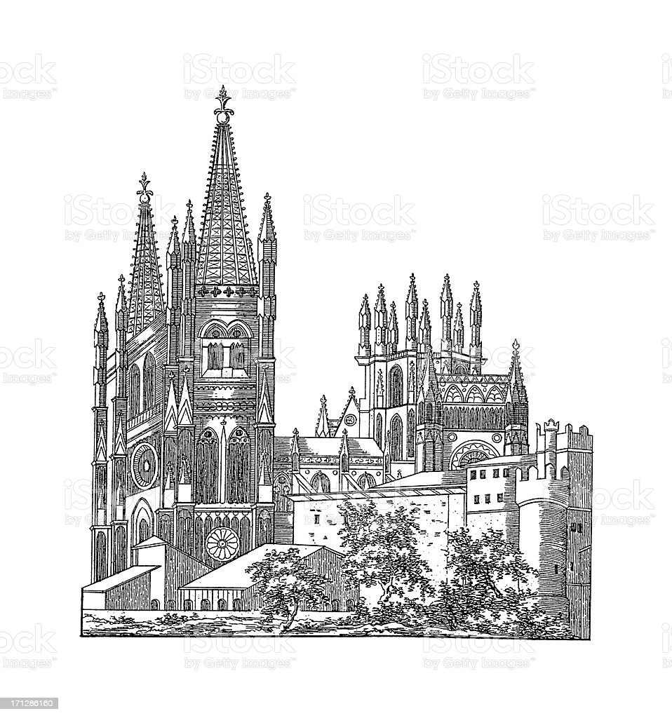 Burgos Cathedral, Spain | Antique Architectural Illustrations vector art illustration