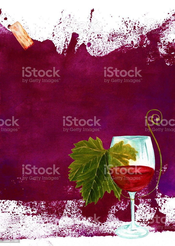 Burgundy wine background with glass, cork and texture vector art illustration