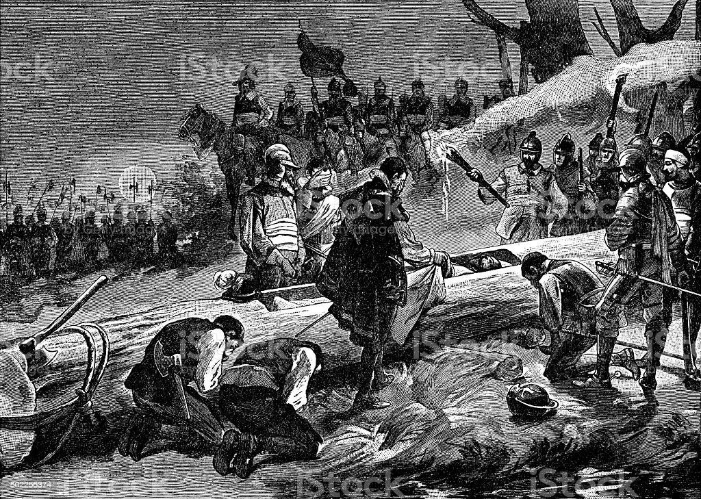 Burial of de Soto vector art illustration