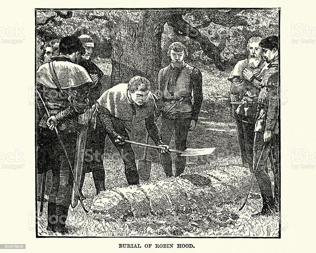 Burial of Robin Hood vector art illustration