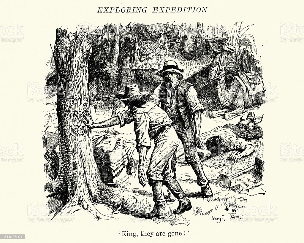 Burke and Wills expedition in Australia vector art illustration