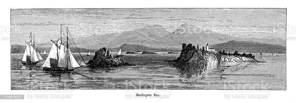 Burlington Bay, Lake Champlain, Vermont | Historic American Illustrations royalty-free stock vector art