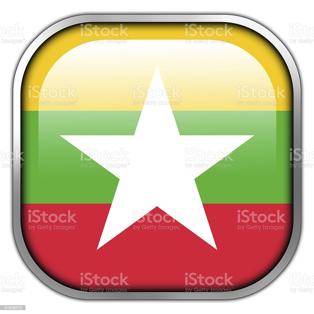 Burma Flag square glossy button vector art illustration