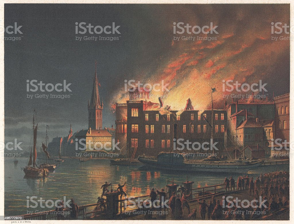 Burning Academy in Düsseldorf in 1872, Lithograph, published in 1873 vector art illustration