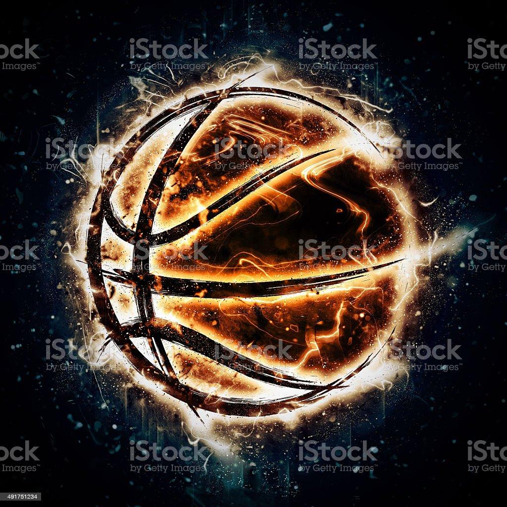 Burning basketball vector art illustration