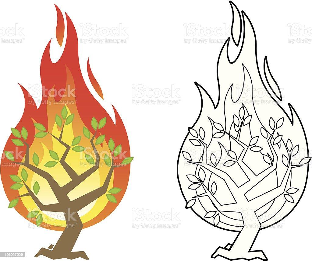 Burning bush vector illustration vector art illustration