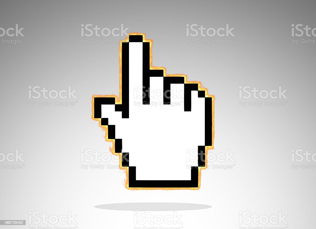 Burning Computer Hand Pointer Cursor vector art illustration
