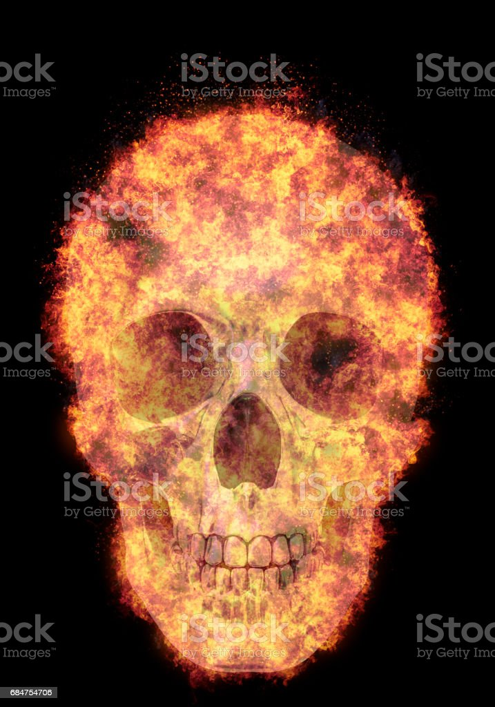 burning human skull, bursted into flames, isolated against the black background vector art illustration