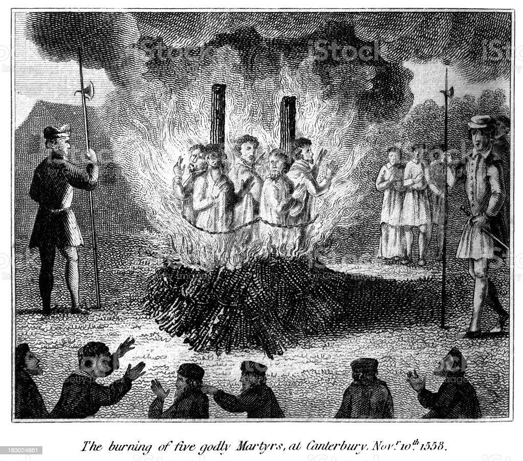 Burning of five godly martyrs at Canterbury vector art illustration
