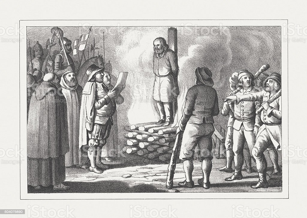 Burning of the heretic at the stake, lithograph, published 1850 vector art illustration
