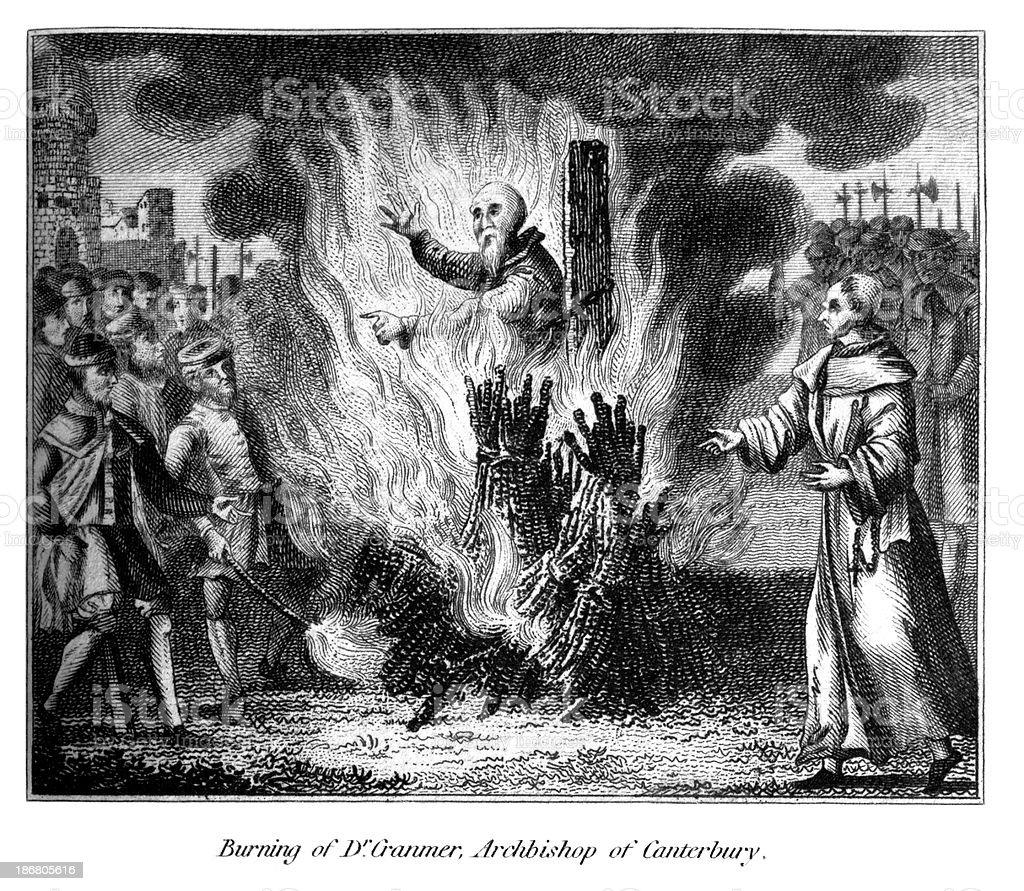 Burning Thomas Cranmer Archbishop of Canterbury vector art illustration
