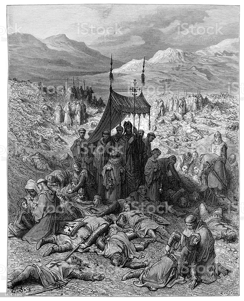 Burying the dead after Battle of Dorylaeum vector art illustration