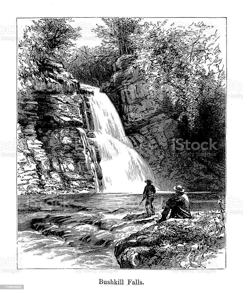 Bushkill Falls, Pennsylvania (1872) royalty-free stock vector art