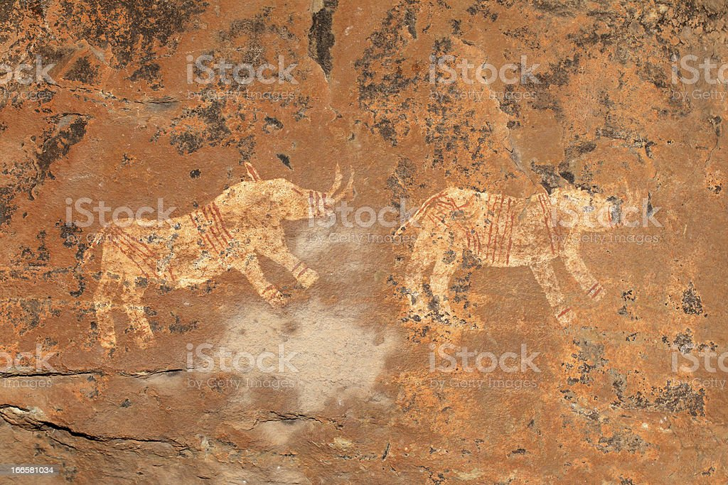 Bushmen rock painting royalty-free stock vector art