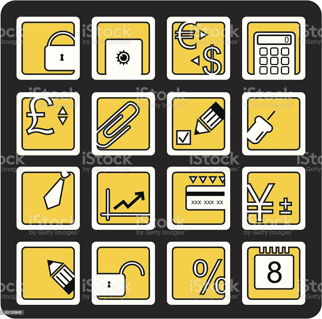Business and finance icons set royalty-free stock vector art