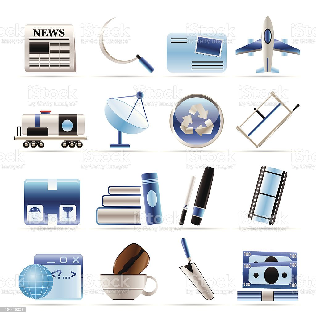 Business and industry icons royalty-free stock vector art