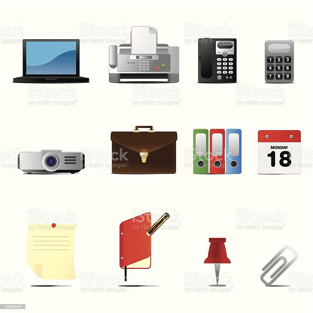 Business and Office Icons set I Series One Volume Three royalty-free stock vector art