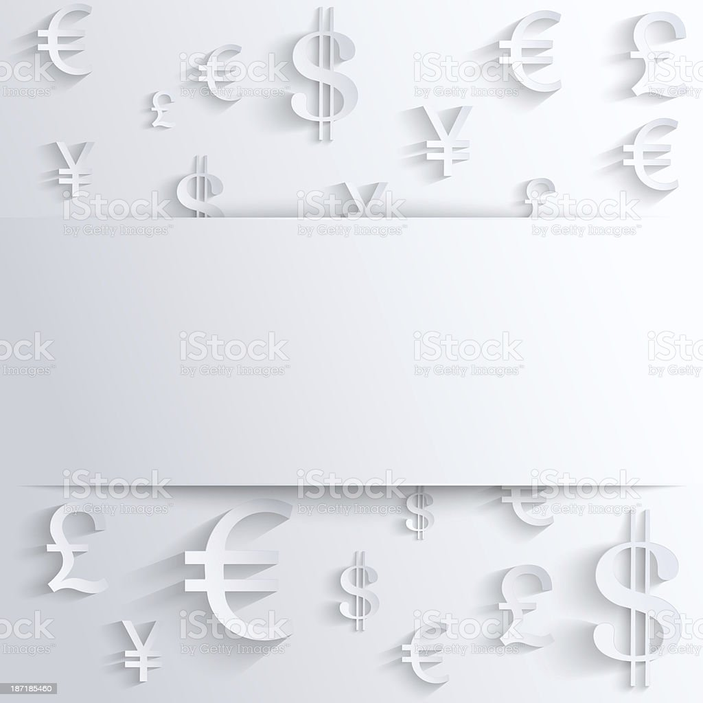 Business background with various money symbol royalty-free stock vector art