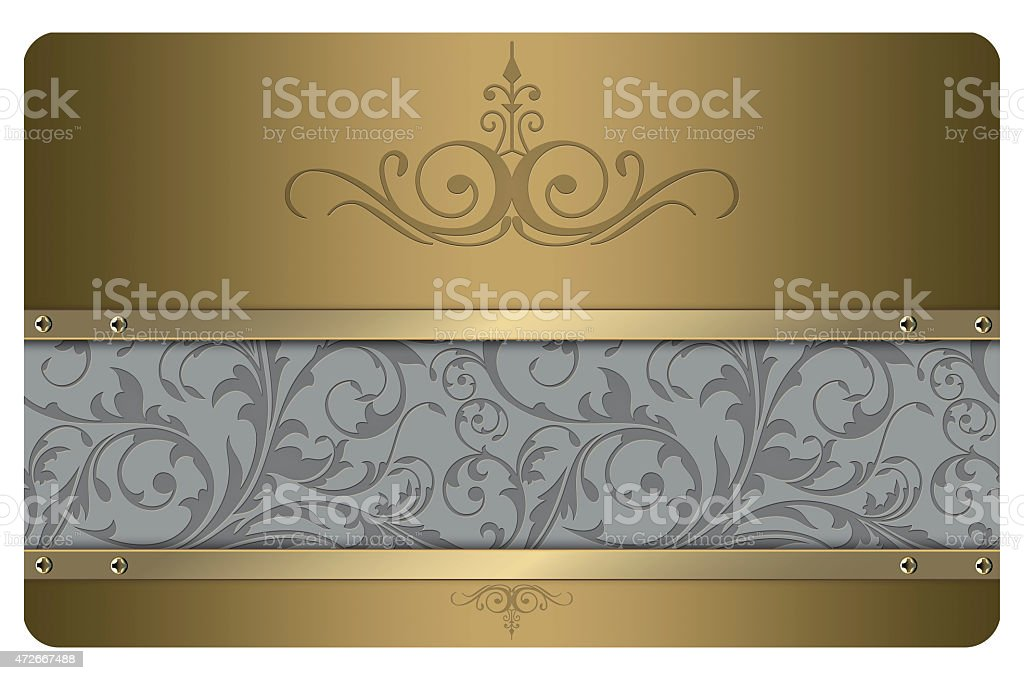 Business card template. Gold style. vector art illustration