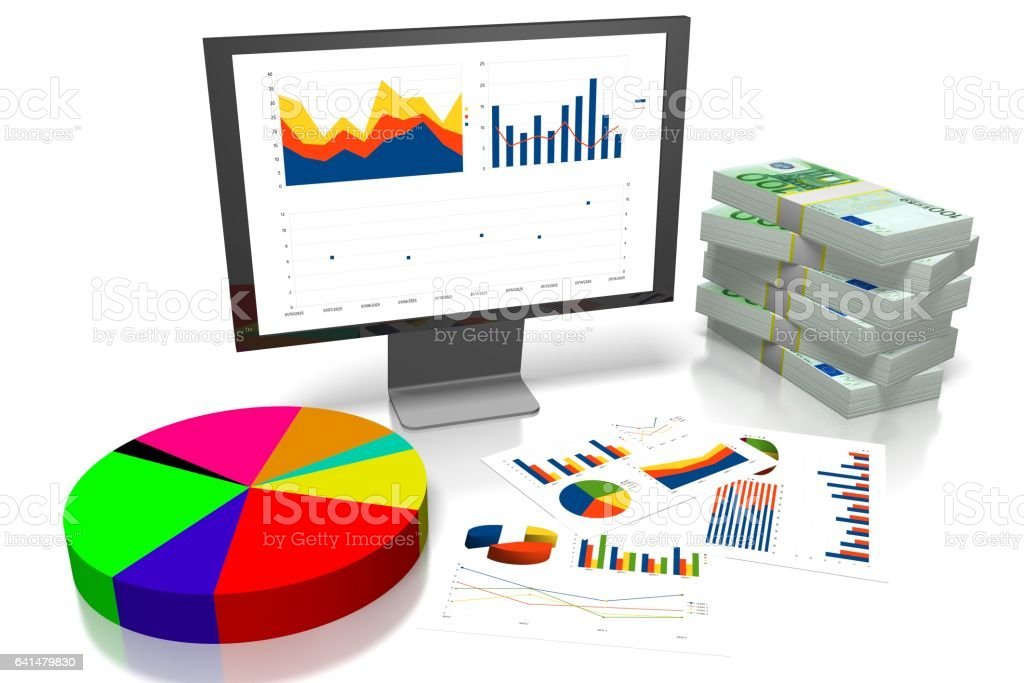 3D business chart, Euro money vector art illustration