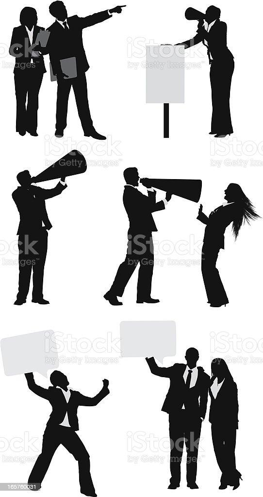 Business communication megaphones and signs vector art illustration