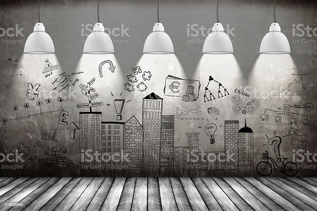 business concept on wall vector art illustration