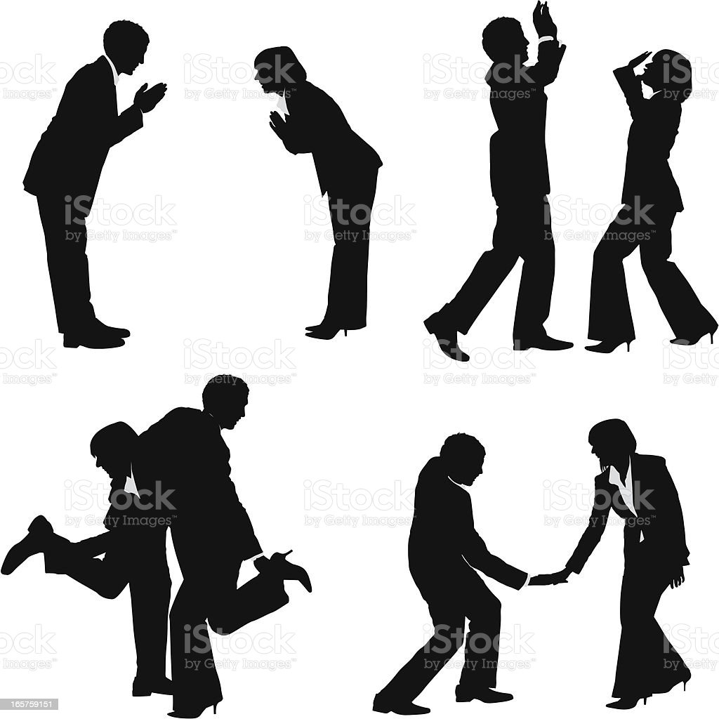 Business couple secret handshake bow vector art illustration