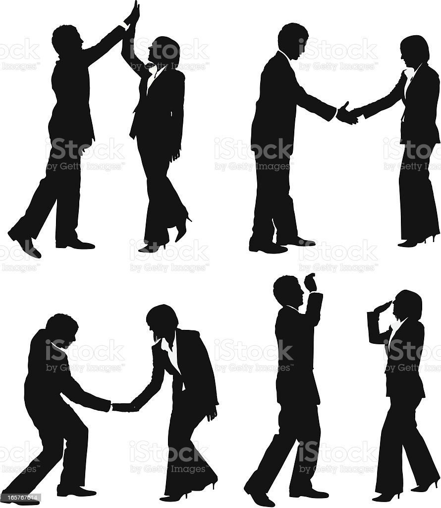 Business couple secret handshake high five vector art illustration