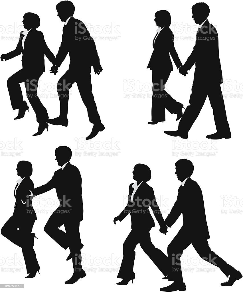 Business couple walking and skipping holding hands royalty-free stock vector art