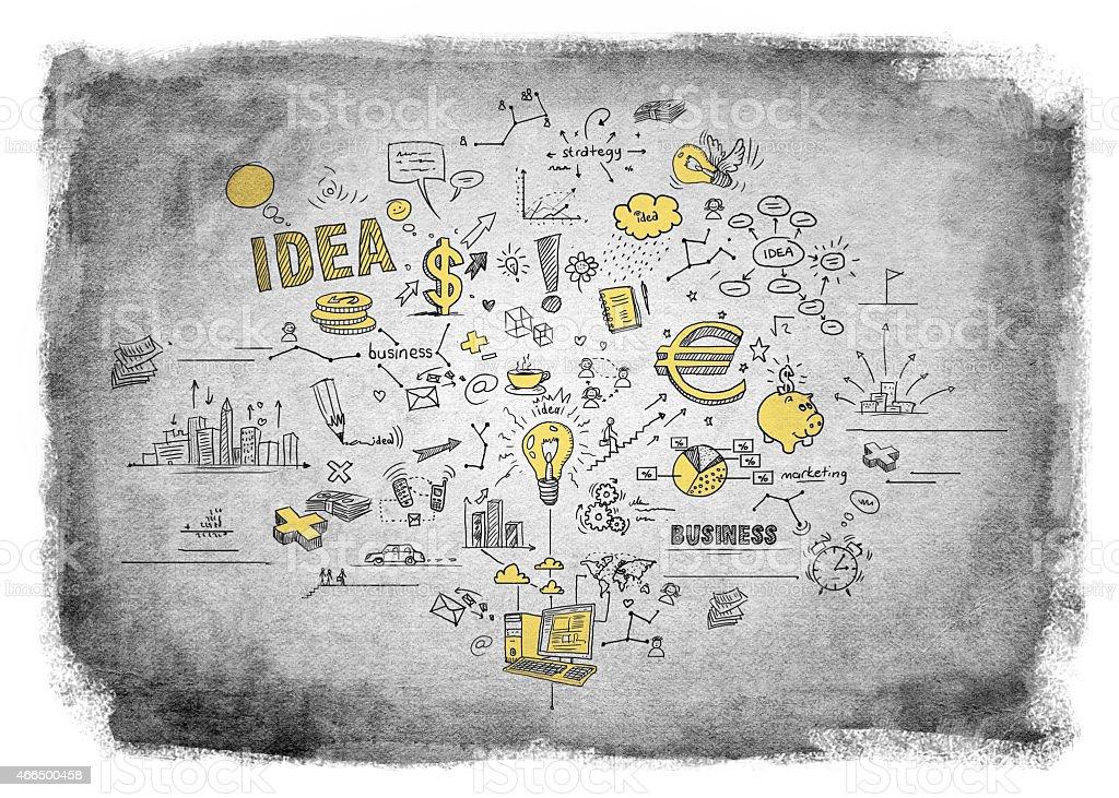 Business doodles vector art illustration