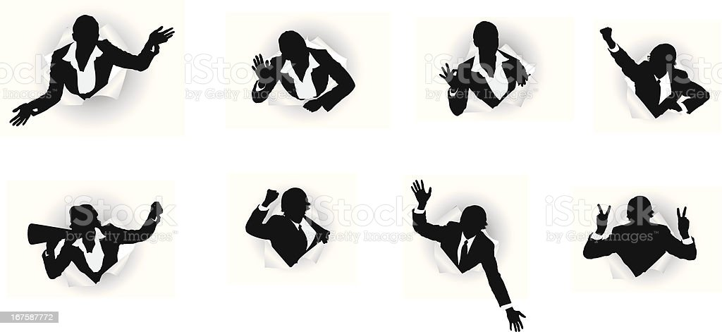 Business executives emerging from hole of paper royalty-free stock vector art