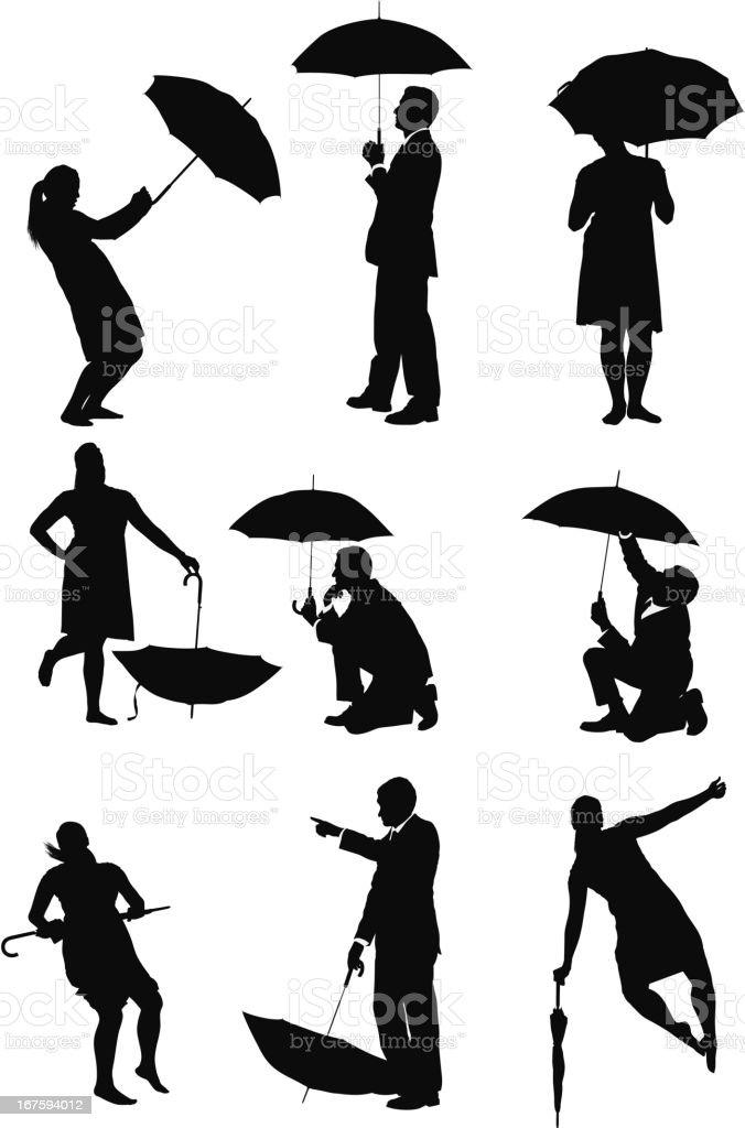 Business executives with umbrellas royalty-free stock vector art