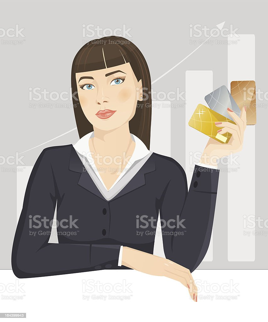 Business Girl With Credit Cards vector art illustration