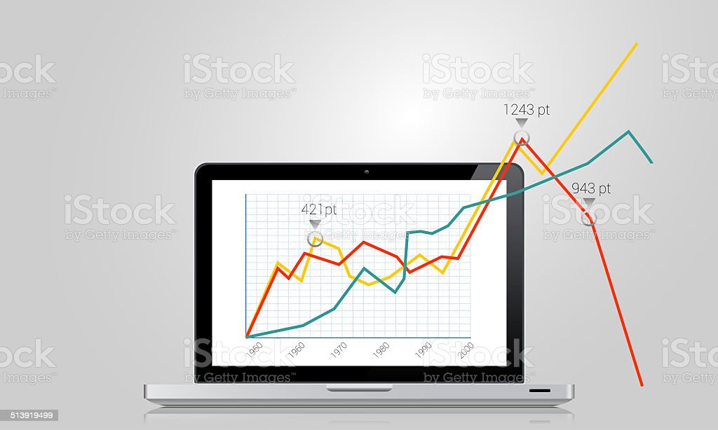 Business graph vector art illustration