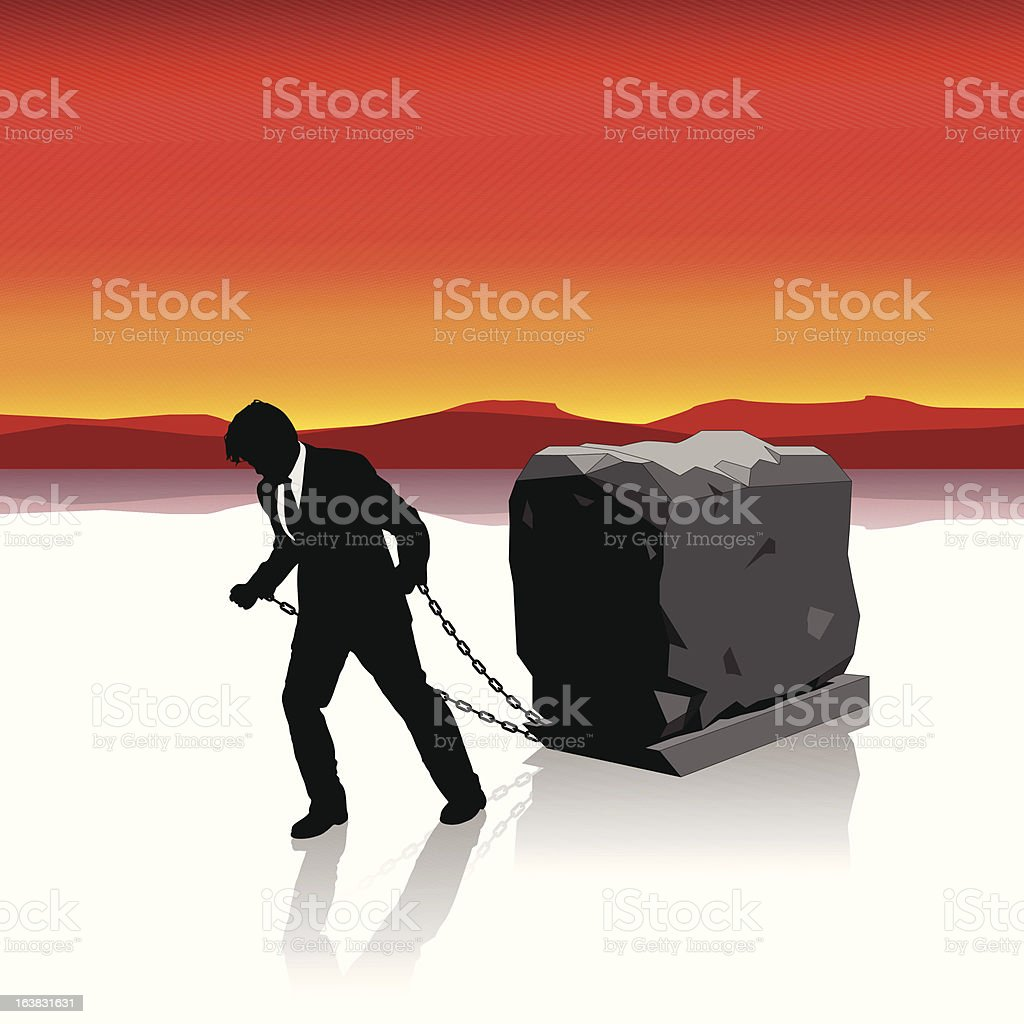 Businessman Held Back by Heavy Load Illustration : Istockphoto