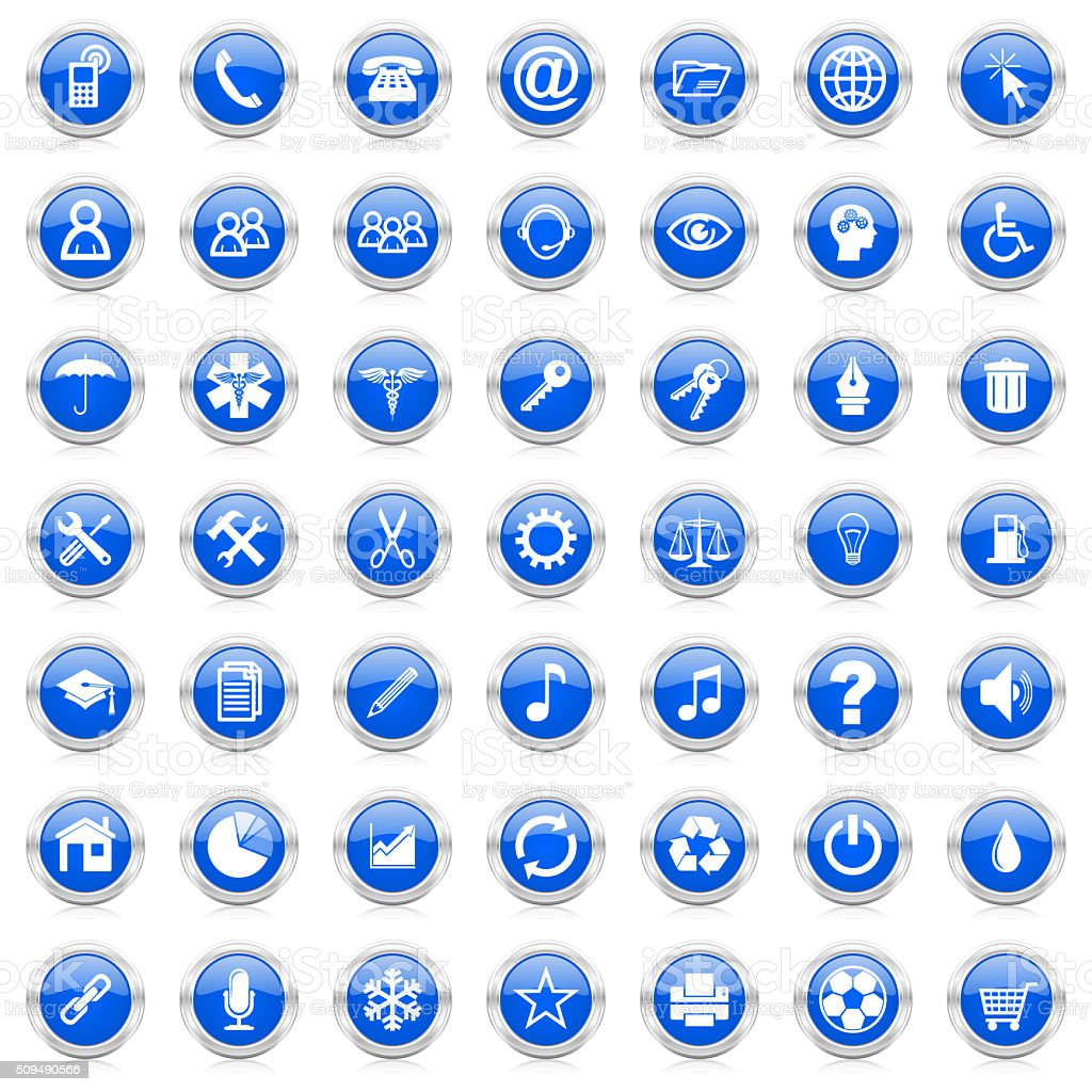 business internet icons set stock photo