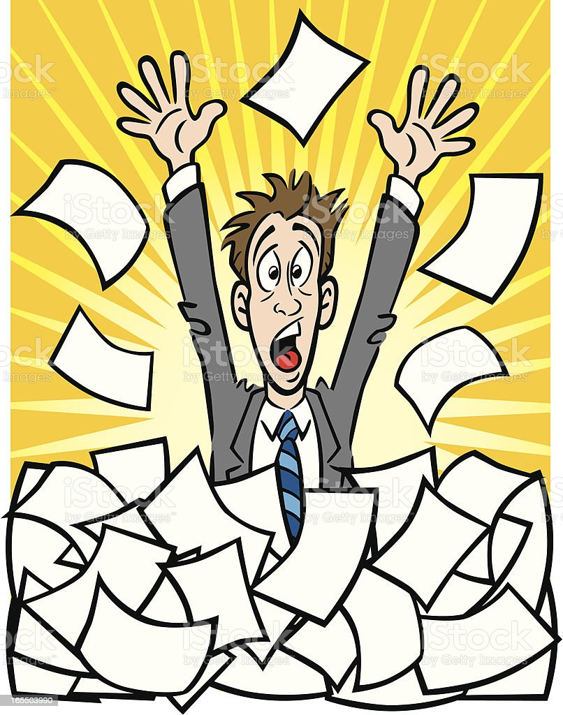 Business Man With Paperwork royalty-free stock vector art