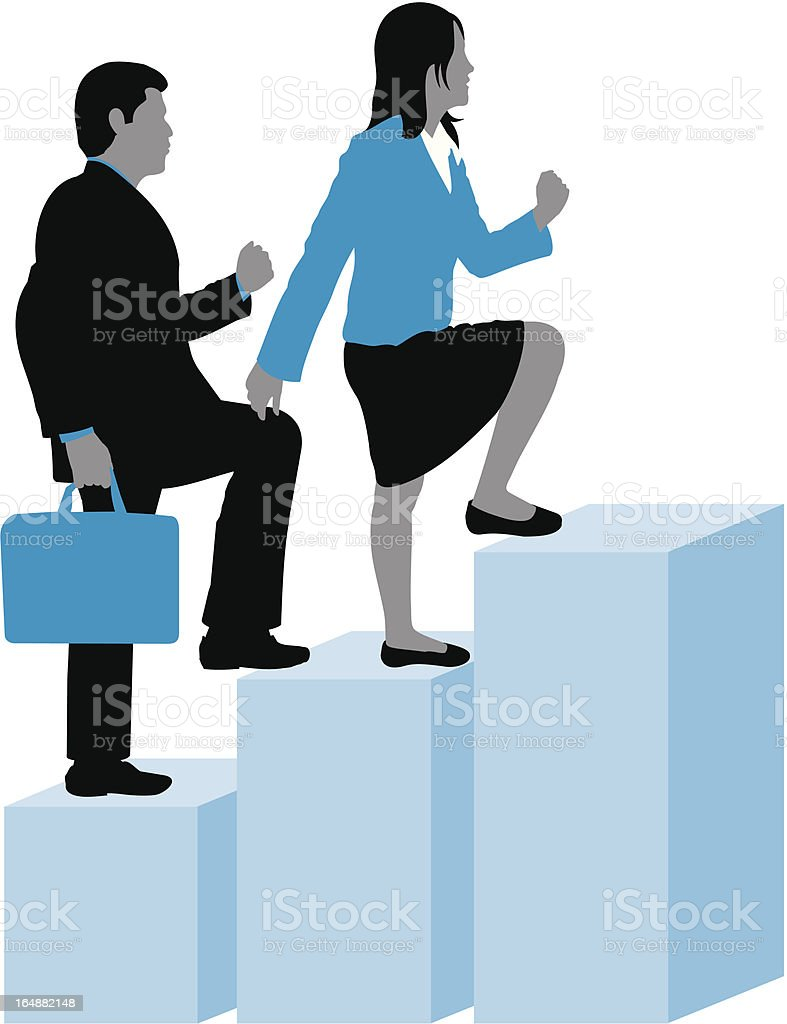 Business man & woman stepping up royalty-free stock vector art