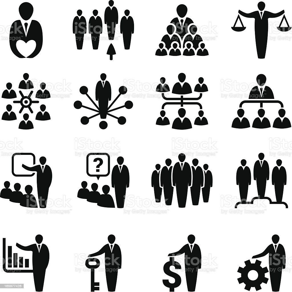 Business management icons royalty-free stock vector art