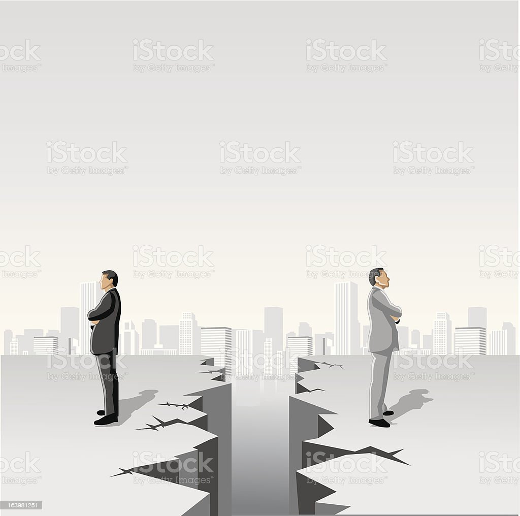 Business men separated by cracked floor vector art illustration